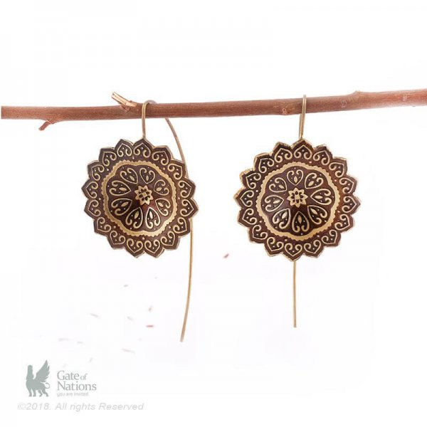 Brass Earring Model Flower