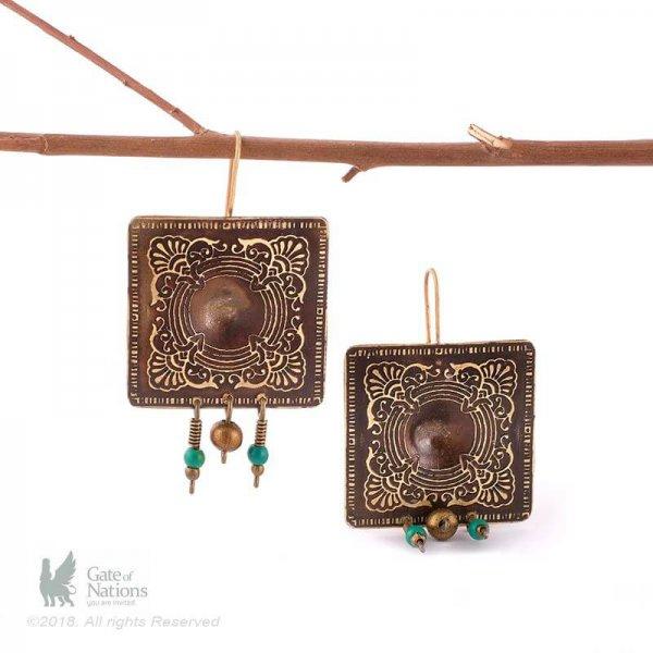 Brass Earring Model Square