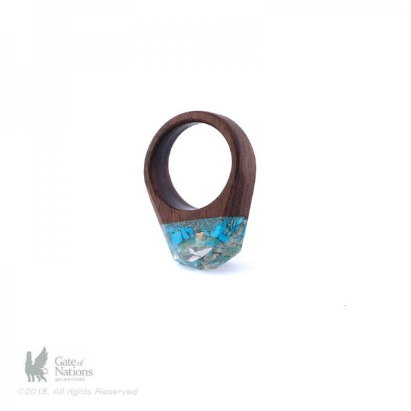 Resin And Stone Ring Model Blue Glass