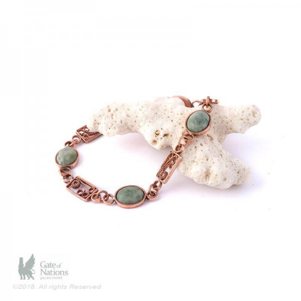 Copper Filigree Bracelet Model Green Jasper