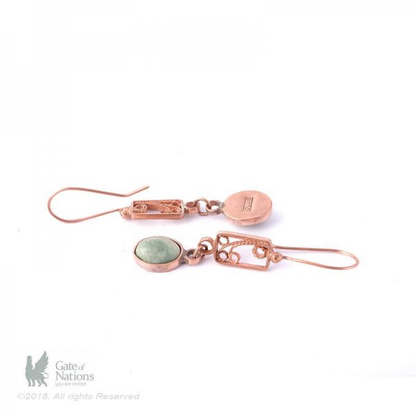 Copper Filigree Earring Model Green Jasper