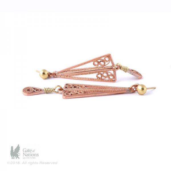Copper Filigree Earring Model Two Wings