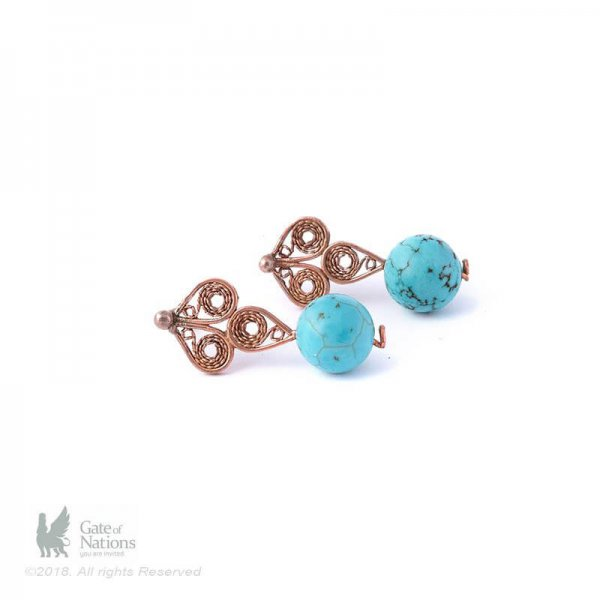 Copper Filigree Earring Model Flame And Water