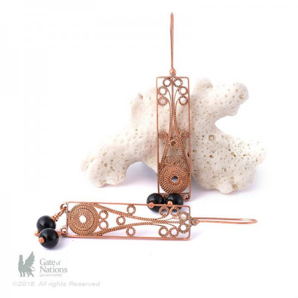 Copper Filigree Earring Model Blooming Flower