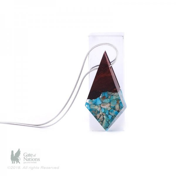 Resin And Stone Necklace Model Floating Blue