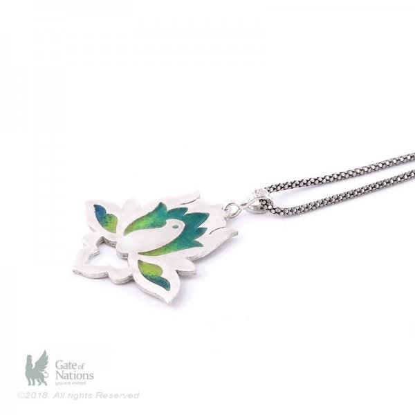 Silver Necklace Model Enamel Lotus