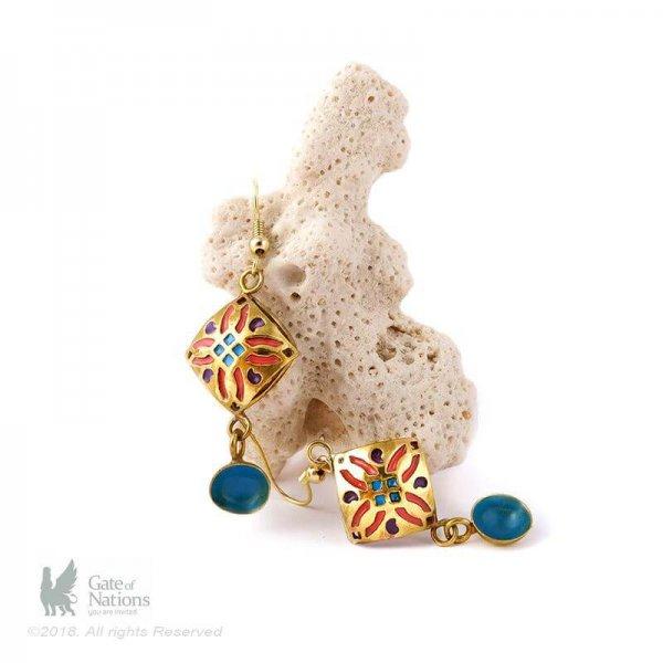 Brass Earring Model Enamel Diamond
