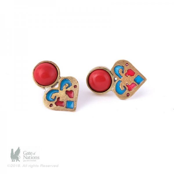 Brass Earring Model Red Heart