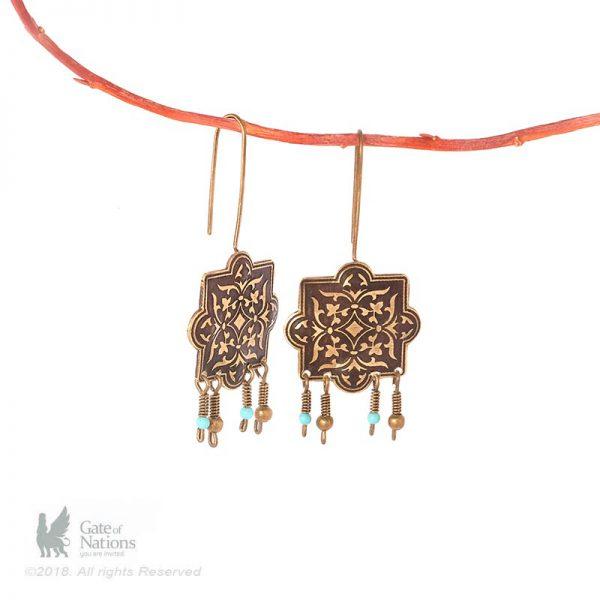 Brass Earring Model Persian Tile