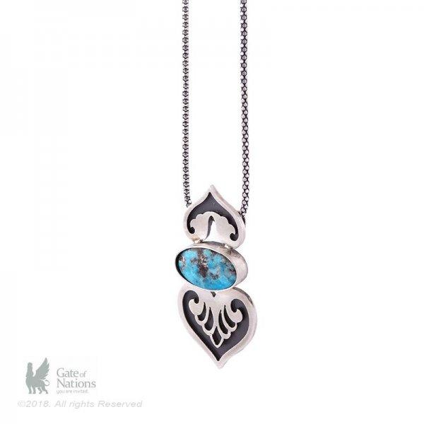 Silver Necklace Model Sassanid Flower