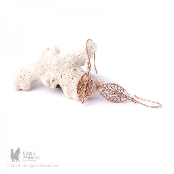 Copper Filigree Earring Model Leaf