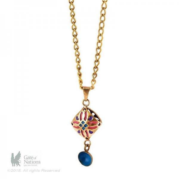Brass Necklace Model Enamel Diamond